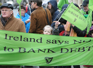 Protests against the bailout of bond holders, such as this one in Dublin on March 16, happen regularly in Ireland.
