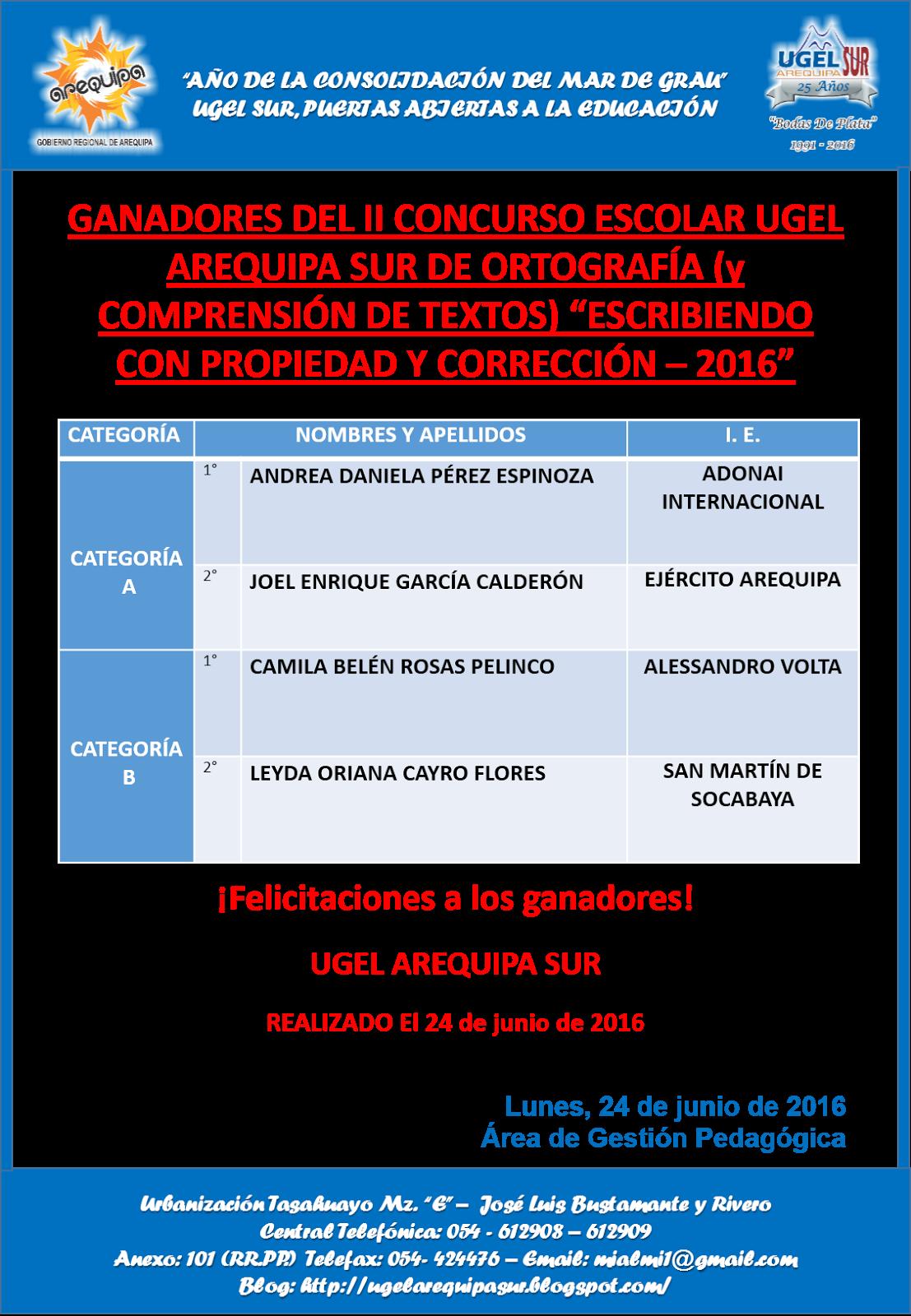 """II CONCURSO ESCOLAR DE LA UGEL AREQUIPA SUR """" ESCRIBIENDO CON PROPIEDAD Y CORRECCIÓN - 2016"""""""
