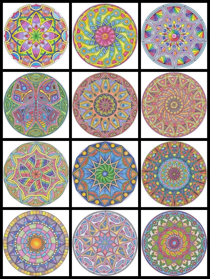 and these are some of the mandalas i colored using colored pencils