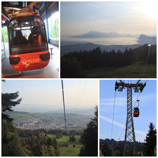 The aerial cable gondola takes you from the ticket booth at Kriens section to the Frakmuntegg summit terminus at Mount Pilatus in Lucerne, Switzerland