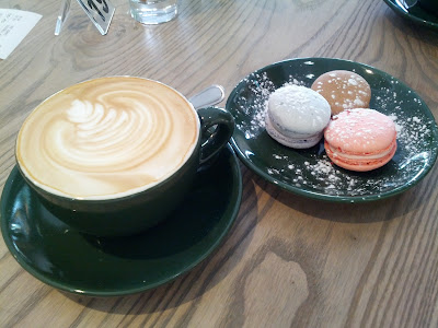 cappuccino and macaroons