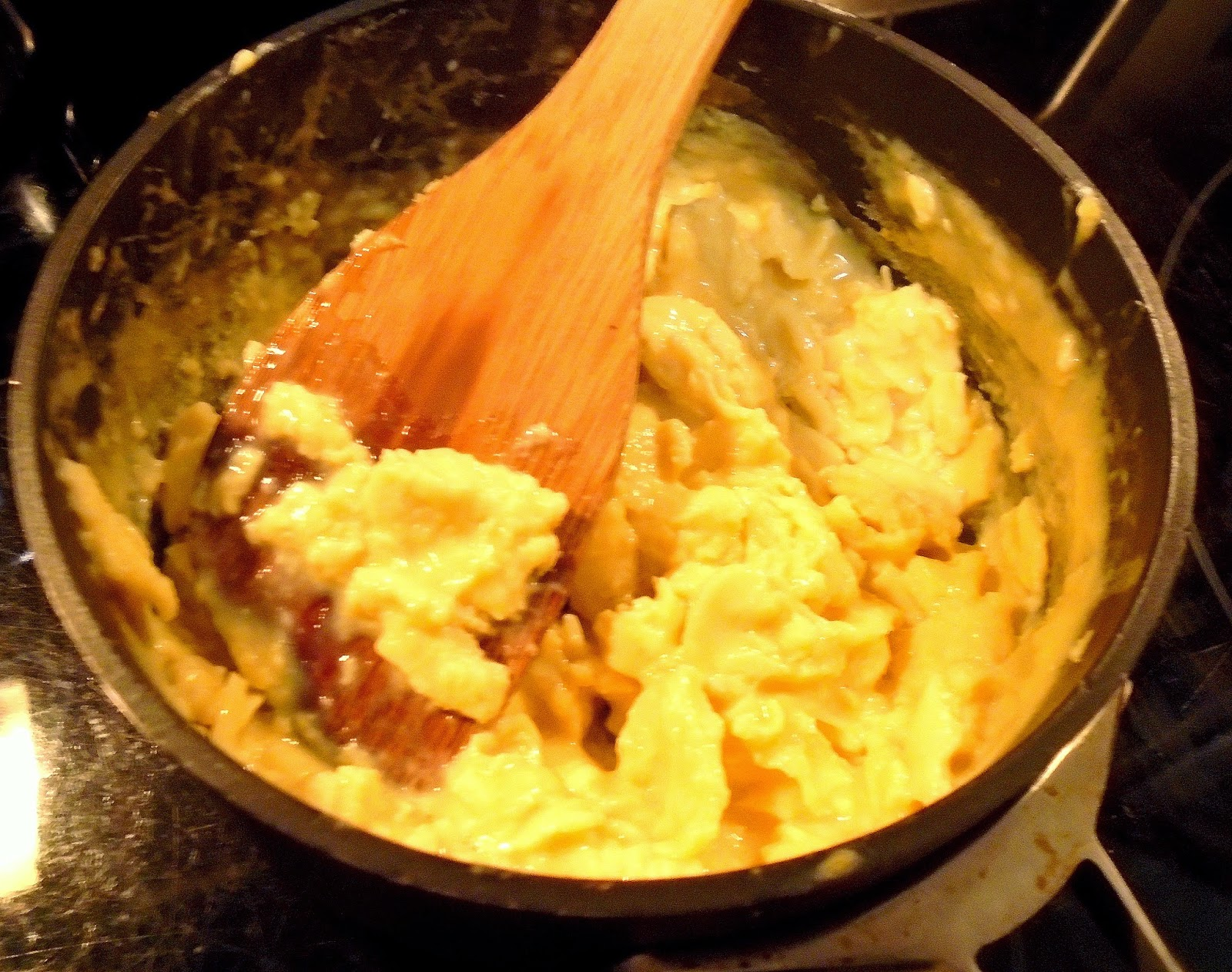 scrambling eggs to add to Chinese Fried Rice