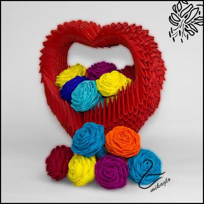 Koszyczek kwiatów w kształcie serca origami 3d