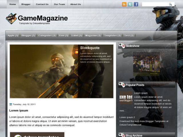 Game Magazine Blogger Template