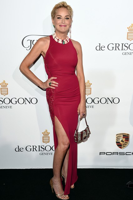 Sharon Stone wore a dress by Roberto Cavalli and carried a Ferragamo clutch at Cannes, amfAR Gala 2014