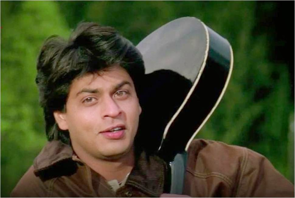 Shahrukh Khan with Mandolin in Aditya chopra's brown jacket in DDLJ