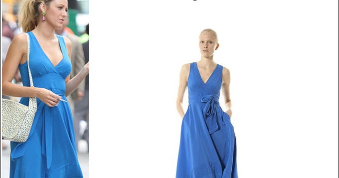 WHAT SHE WORE: Blake Lively in blue silk Marc by Marc ...