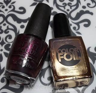 OPI 'Black Cherry Chutney', and Sally Hansen Color Foil 'Liquid Gold'