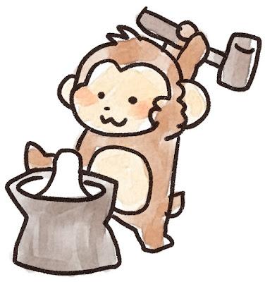 餅つきをする猿のイラスト(申年)