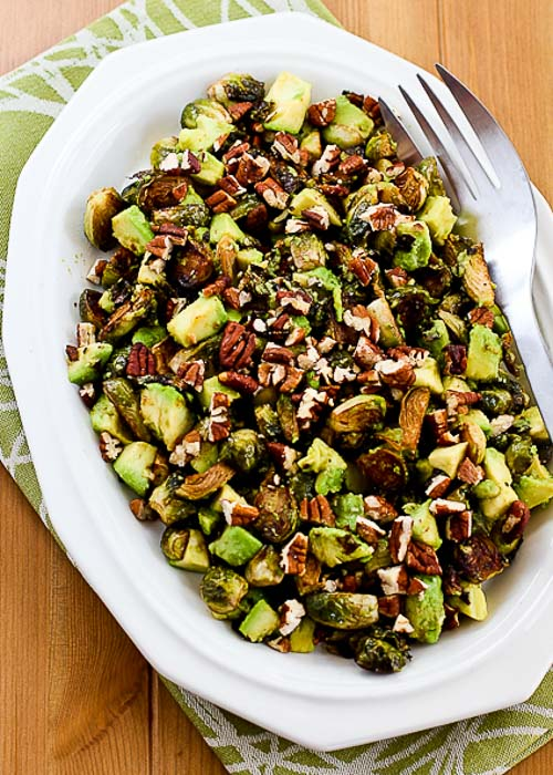 Roasted Brussels Sprouts with Avocados and Pecans [found on KalynsKitchen.com]