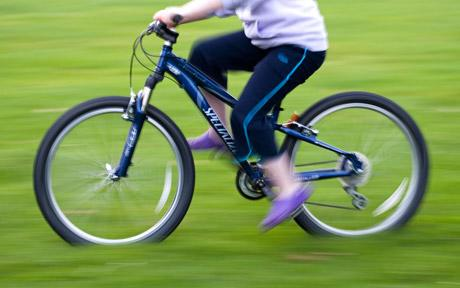 riding on bike - blurred due to speed