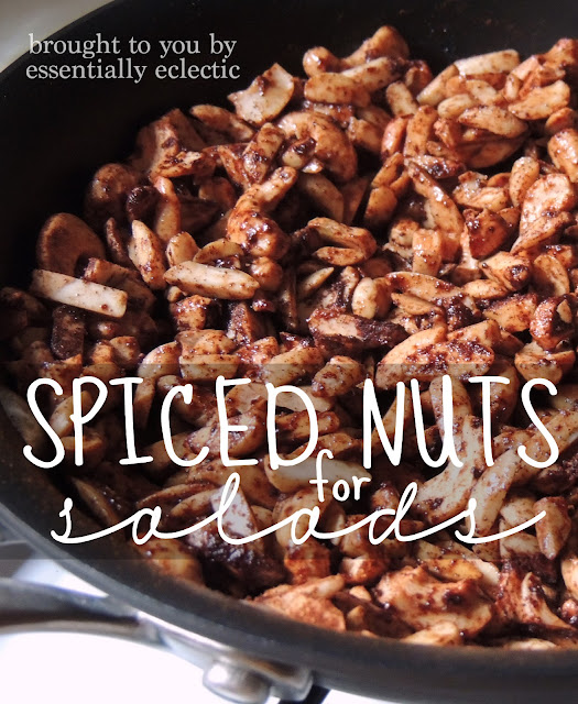 Spiced Nuts for Salads | www.EssentiallyEclectic.com | These spiced almonds are a great week to jazz up a salad and come together in just a few minutes!
