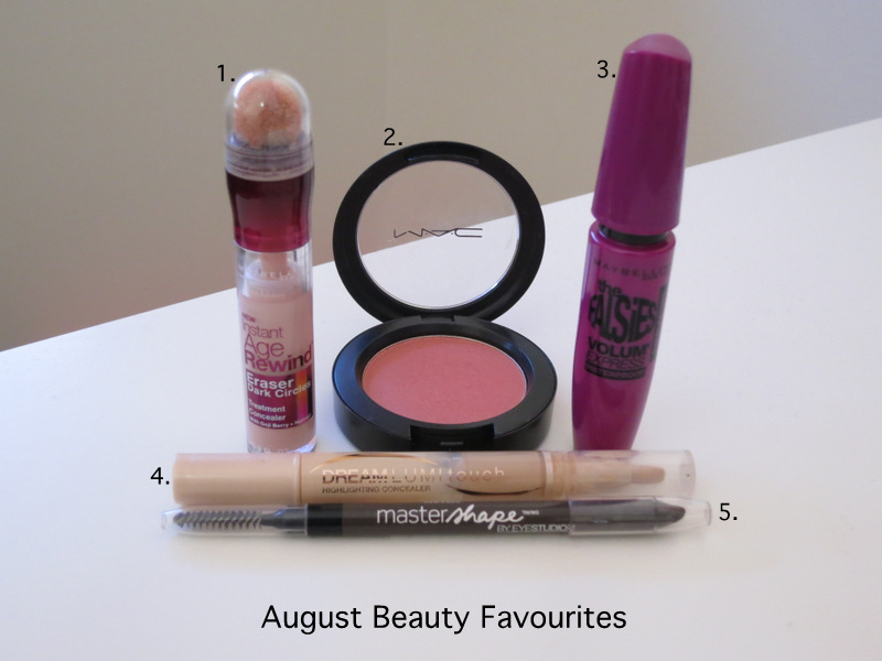 august beauty and makeup favourites, august beauty and makeup favorites, concealer, blush, eyebrow pencil, mac, maybelline