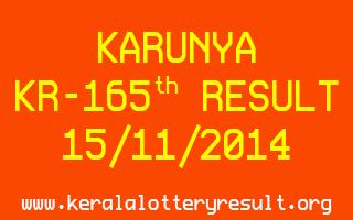KARUNYA Lottery KR-165 Result 15-11-2014
