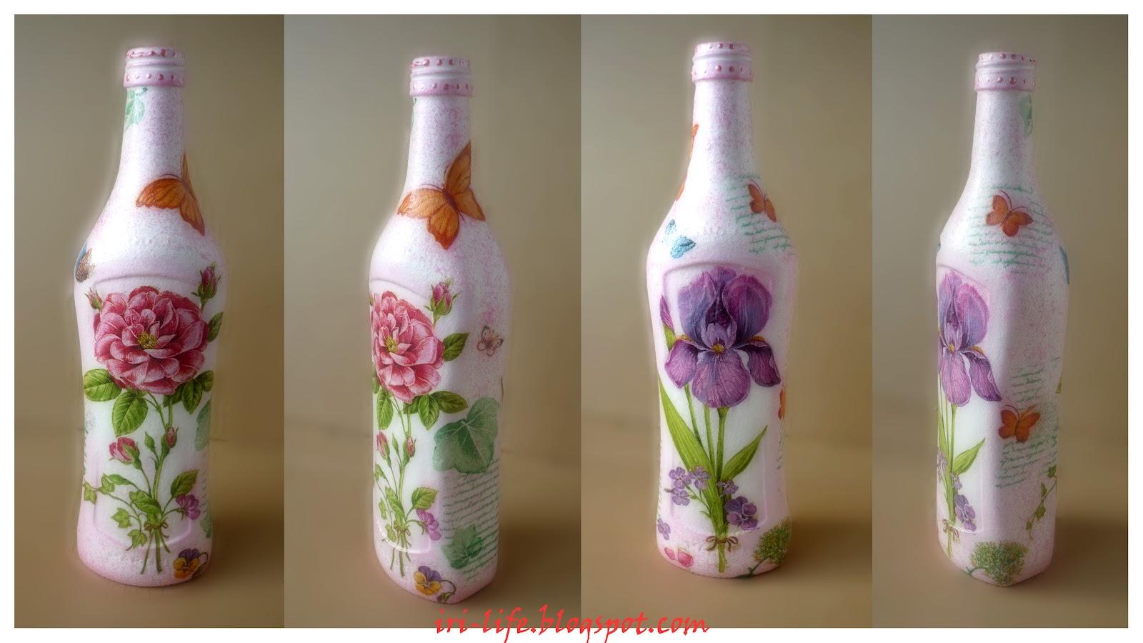 Бутылки декупаж цветы