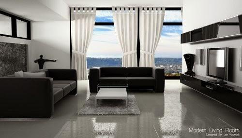 modern living room design with elegant white curtain