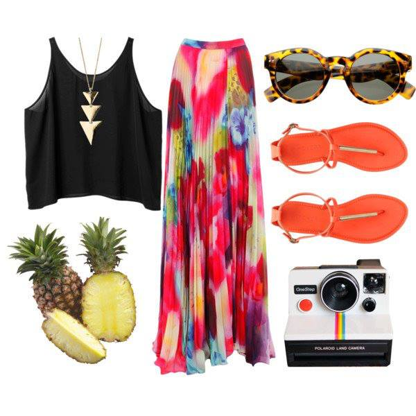 Black blouse, colorful gown, sunglasses and complete summer collection for ladies