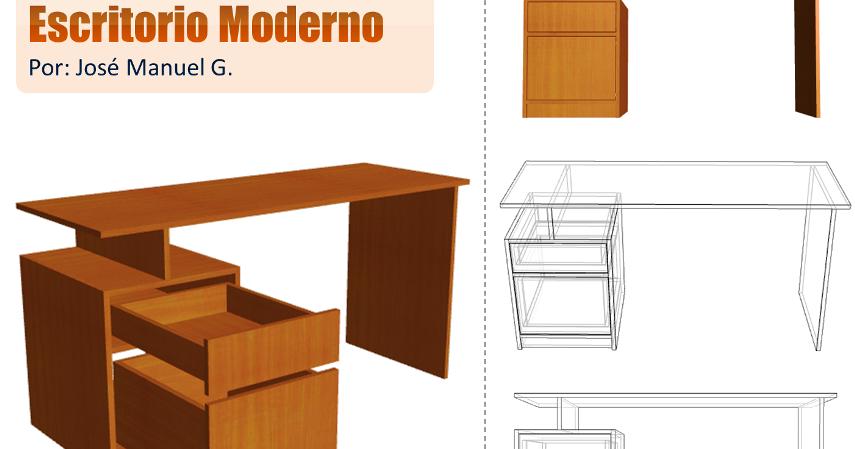 Dise o de muebles madera escritorio moderno dise o 3d for Plano escritorio melamina