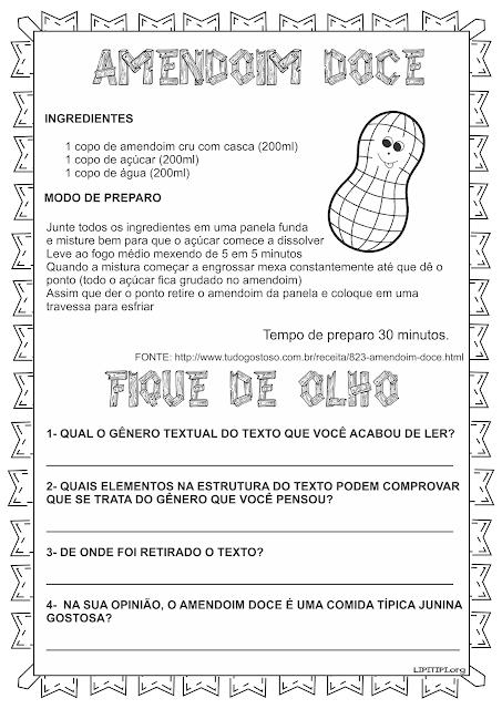 Atividades Gênero Textual Receita Amendoim Doce Festas Juninas