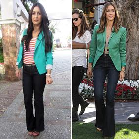 Jessica Alba green blazer
