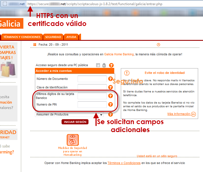 Phishing a banco galicia utiliza https segu info for Numero del banco exterior