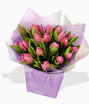 Purple tulips in giftbag