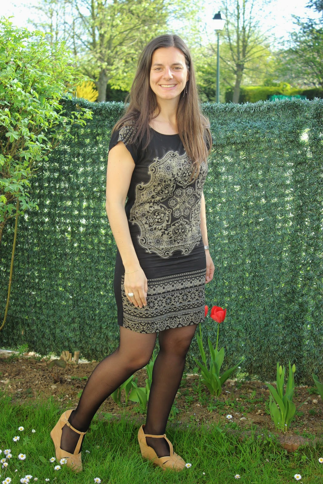 robe noire baroque naf naf, compensés comptoir des cotonniers