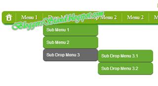 Green Drop Down CSS3 Navigation Menu Bar for blogger