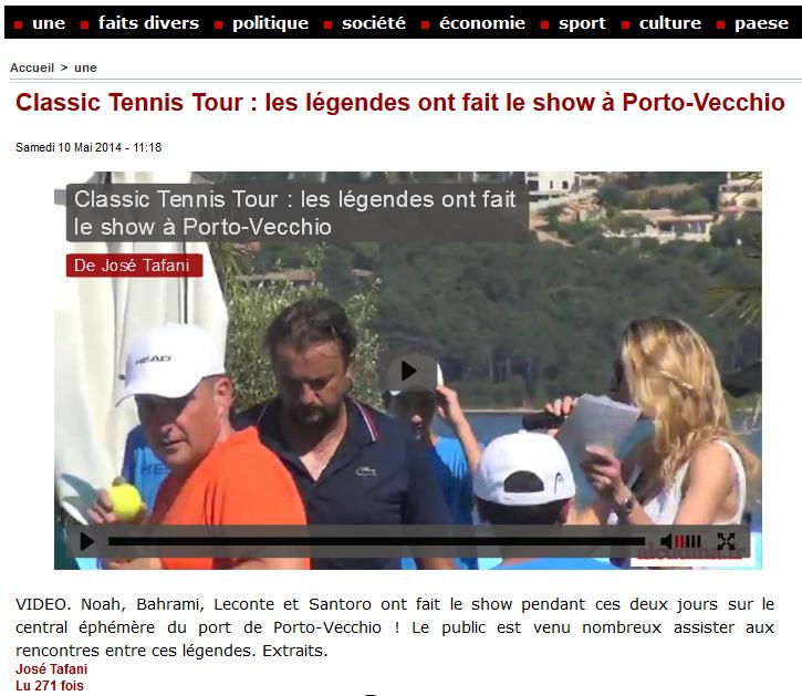 Alcudina - Samedi 10 mai 2014 - Porto-Vecchio - Classic Tennis Tour : les légendes ont fait le show à Porto-Vecchio