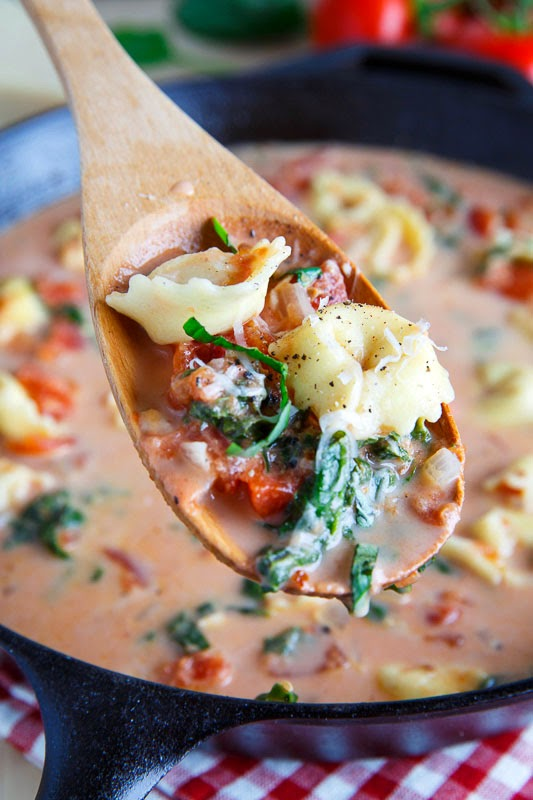 Creamy Parmesan Tomato and Spinach Tortellini Soup on Closet Cooking