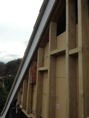 woodfibre insulation boards under studwork for gable cladding