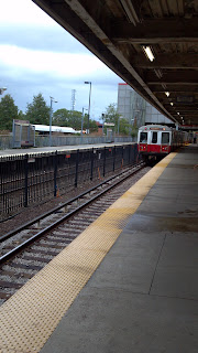 boston metro train approaching platform