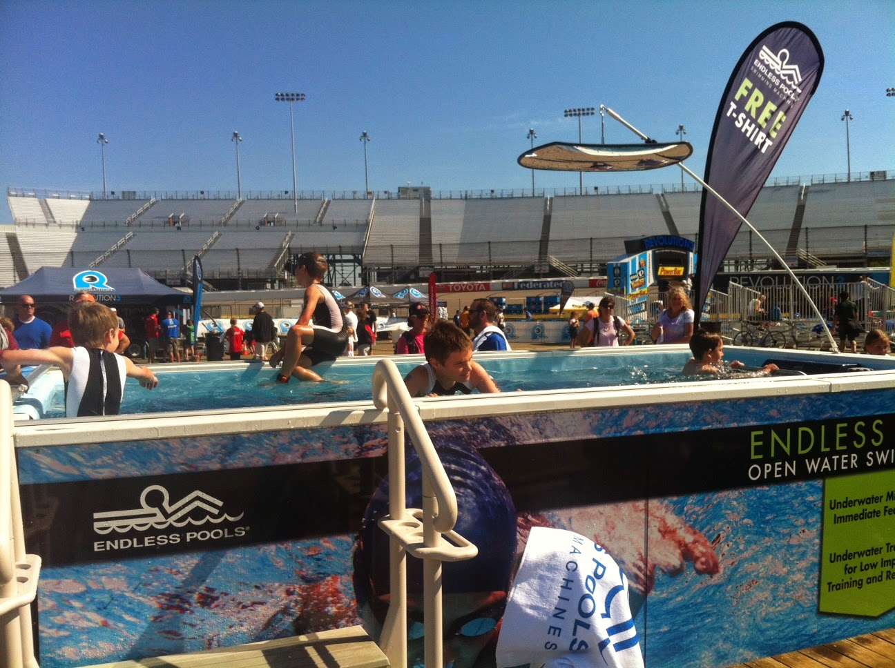 Even the youngest athletes found uses for the Endless Pool at the REV3 Triathlon at Richmond International Raceway.