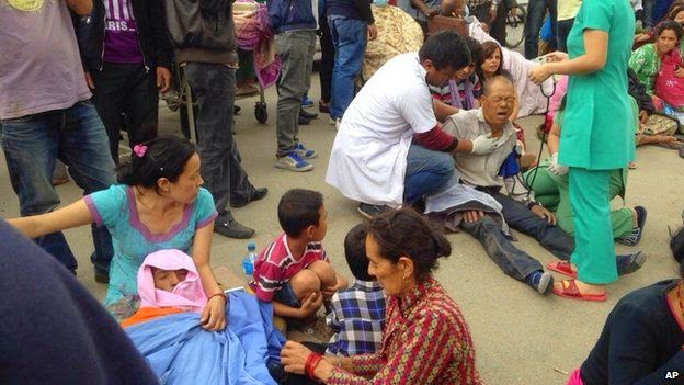 Residents in Kathmandu have been injured in the earthquake