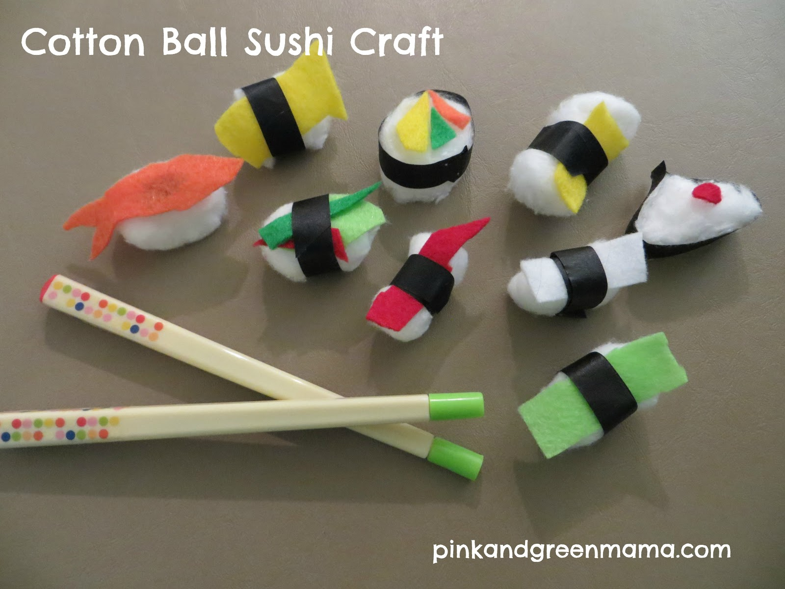 Pink and green mama cotton ball sushi craft - Cotton ballspractical ideas ...
