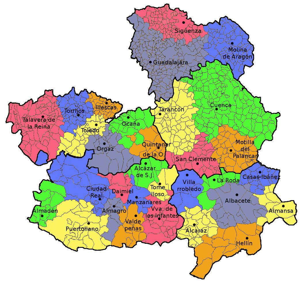 Castile La Mancha Tourism Map Area | Map of Spain Tourism Region and on