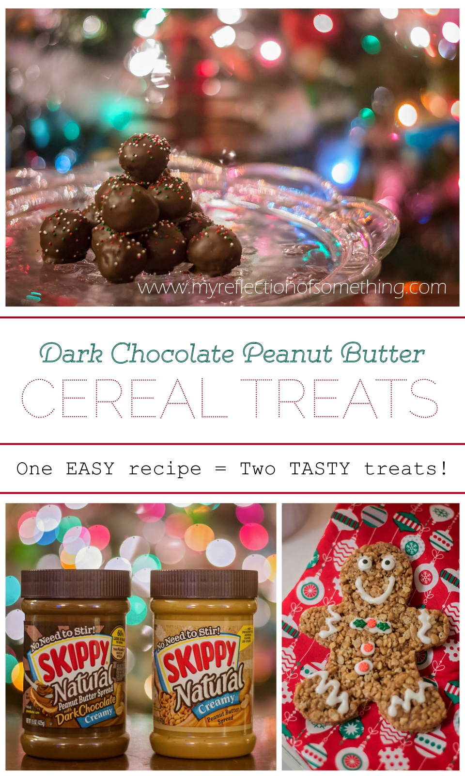 These quick and easy dark chocolate peanut butter cereal treats are the perfect choice for the holidays! One simple recipe gets you two fun and tasty desserts perfect for sharing! Add these to your Christmas cookie list, and grab a coupon for SKIPPY Natural to save on ingredients! #spon #SKIPPYYIPPEE