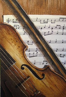 Here Is My Painting Of A Violin And Sheet Music This One Pretty Small Only 4x6 I Love How It Came Out Though