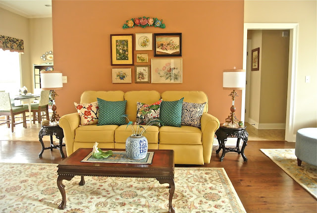 Living room accent wall using HGTV Home Sherwin Williams Spiced Cider