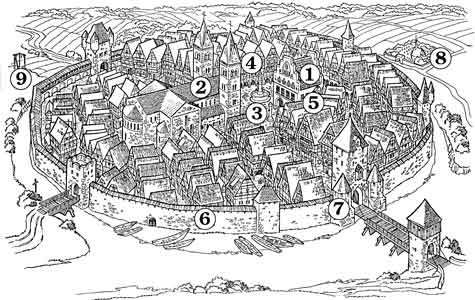 mittelalterliche stadt der aufbau einer mittelalterlichen stadt. Black Bedroom Furniture Sets. Home Design Ideas