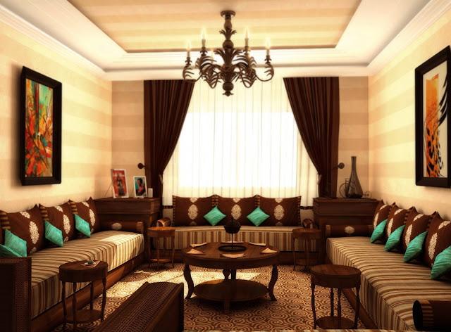Décoration maroc: Un beau salon marocain en marron et turquoise