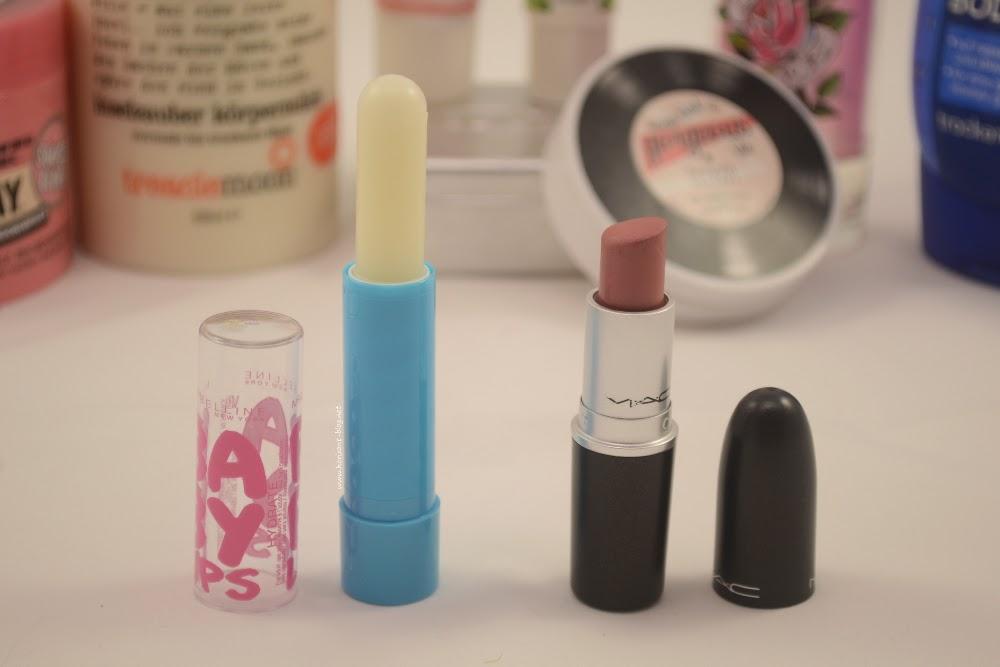 Project 10 Pan: Baby Lips von Maybelline und der Lippenstift Brave von MAC