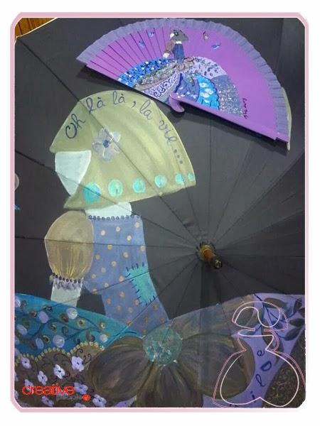 Abanico y paraguas pintados a mano y a juego decorados por Sylvia Lopez Morant