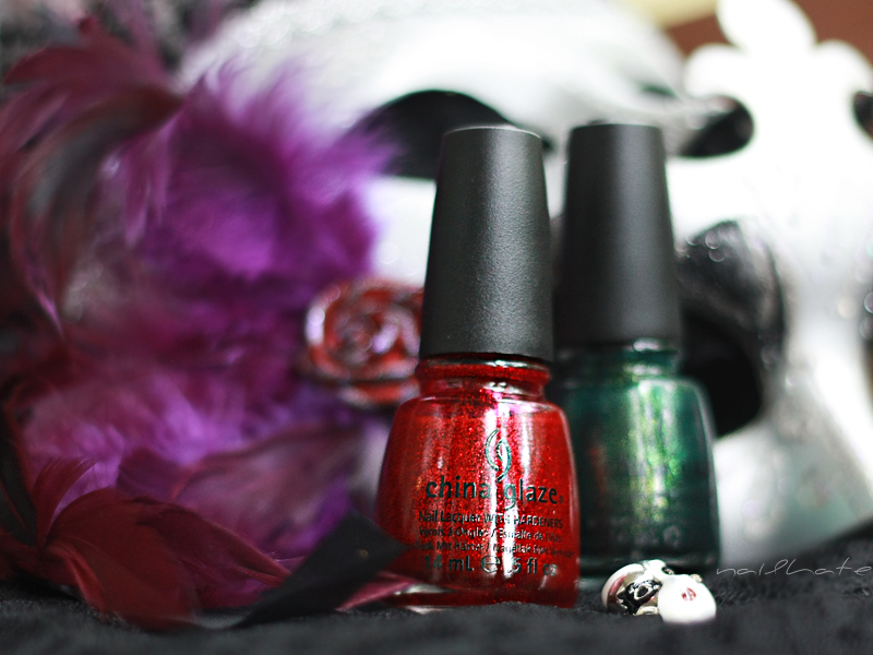 China Glaze Ruby Pumps & China Glaze Glittering Garland