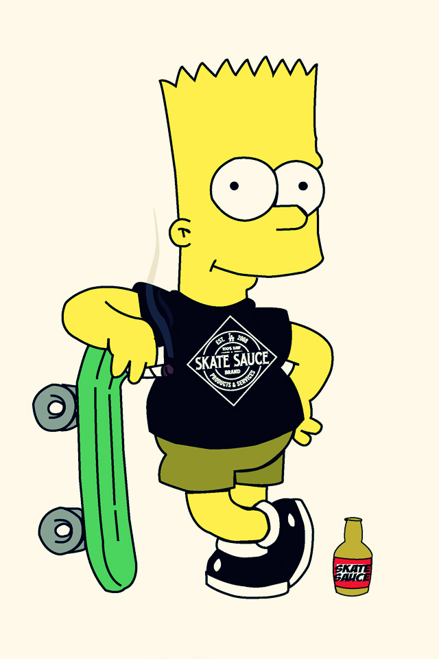 iphone wallpapers pictures bart simpson skateboarding