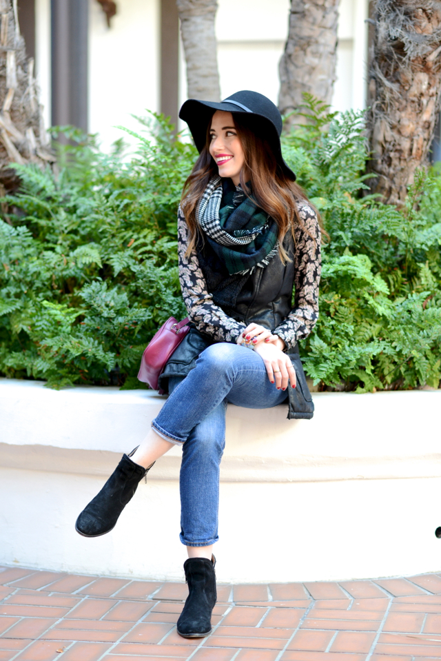 fall outfit with black shearling vest and plaid scarf on M Loves M @marmar