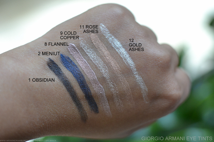 Giorgio Armani Eye Tint Fluid Color Swatches 1Obsidian 2Meniut 8Flannel 9Gold Copper 11Rose Ashes 12Gold Ashes
