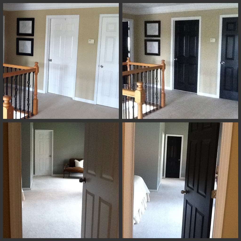 paint a single coat on each side move on to another door or two. Black Bedroom Furniture Sets. Home Design Ideas