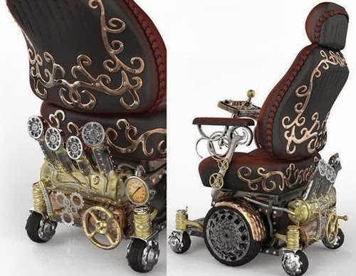 "Two views of a ""Steampunk"" wheelchair, designed in a very ornate way to look like it was made in the Victorian era"