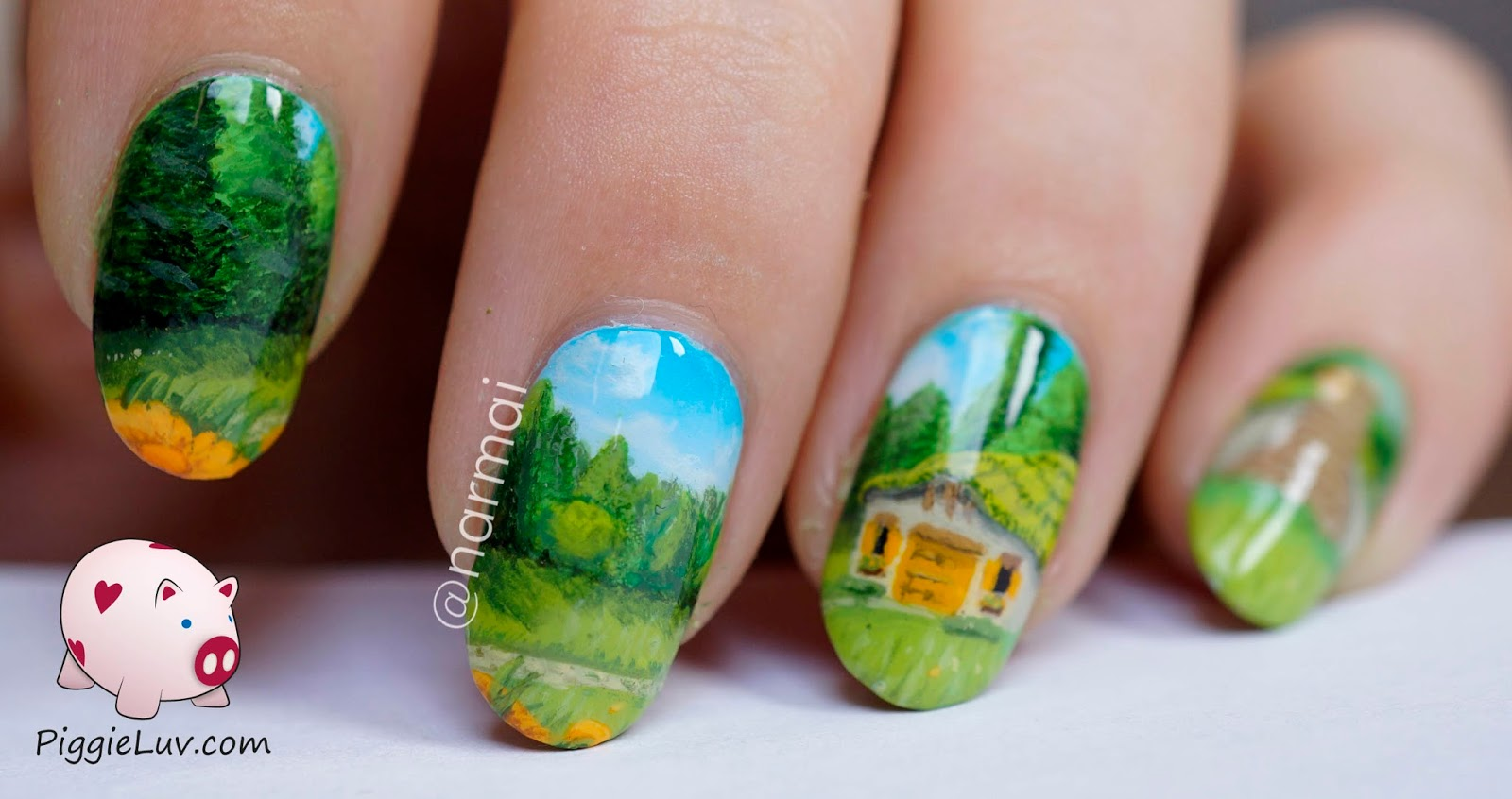 PiggieLuv: Little cabin in the clearing, freehand nail art